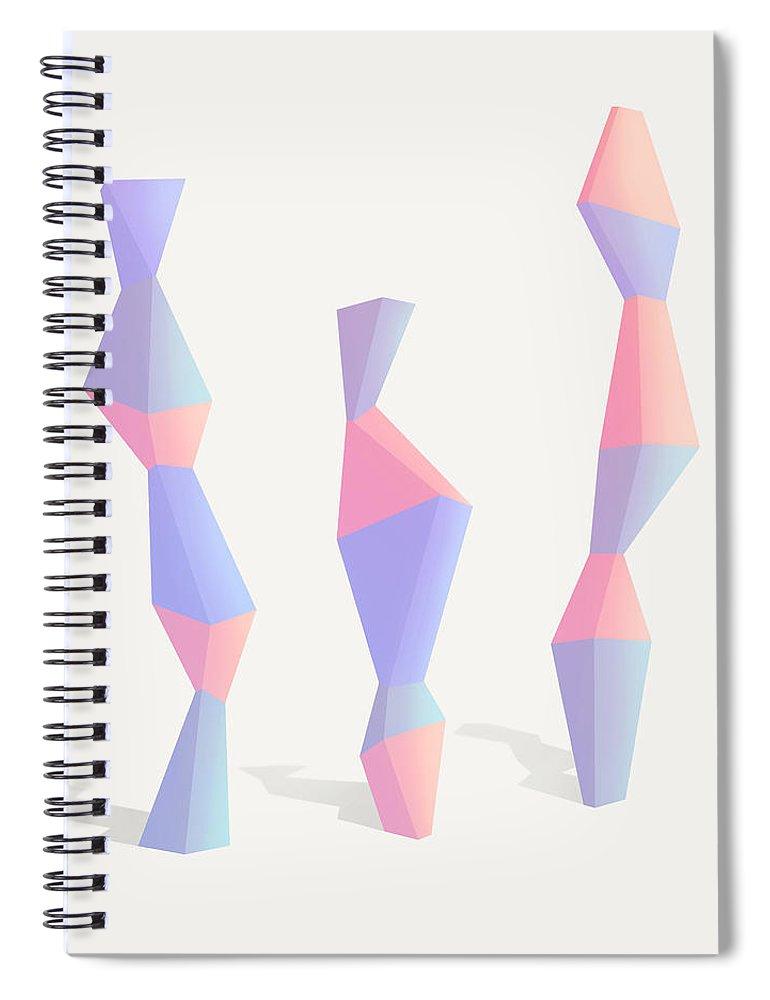 Geometric Spiral Notebook featuring the digital art Trois by Ultra Pop