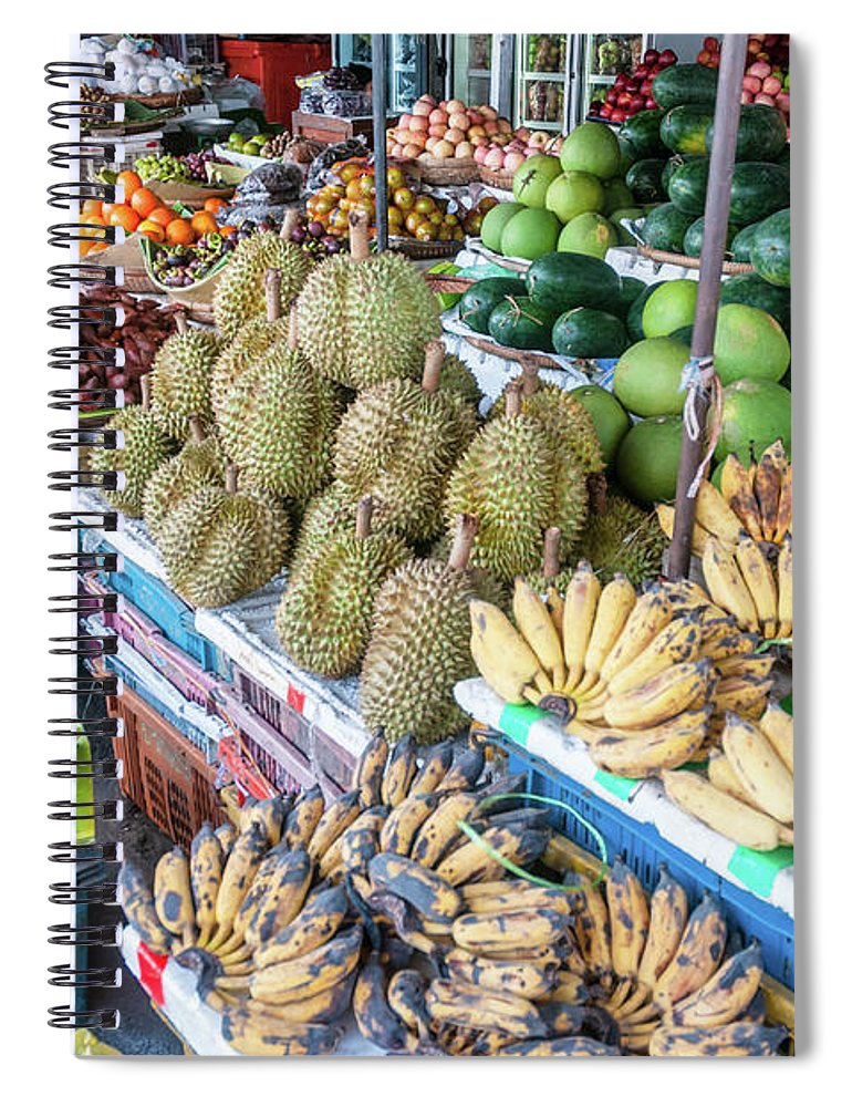 Mango Fruit Spiral Notebook featuring the photograph Tropical Fruit At A Street Market In by Tbradford