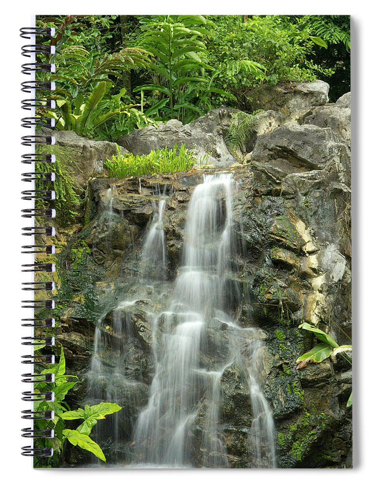 Tropical Rainforest Spiral Notebook featuring the photograph Tropical Rainforest And Waterfall by Travelpix Ltd