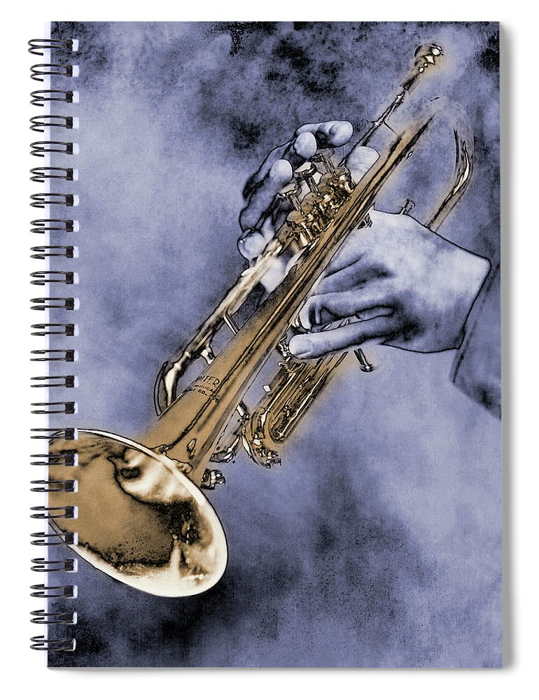 One Man Only Spiral Notebook featuring the digital art Trumpet Player by Nick White