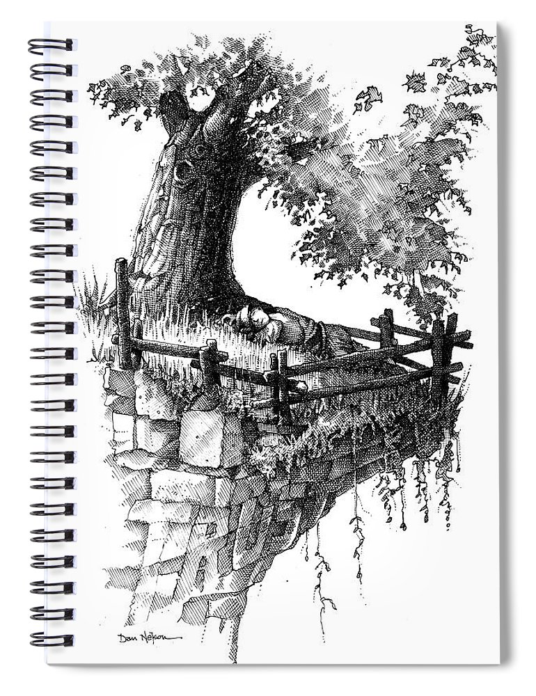 Trust. Sleeping In Peace. Tree And Cliff. Fence. On The Edge. Resting In Peace. Trust Illustration. Sleeping In Peace Illustration. Tree And Cliff Illustration. Fence Illustration. On The Edge Illustration. Resting In Peace Illustration. Spiral Notebook featuring the drawing Trust by Dan Nelson