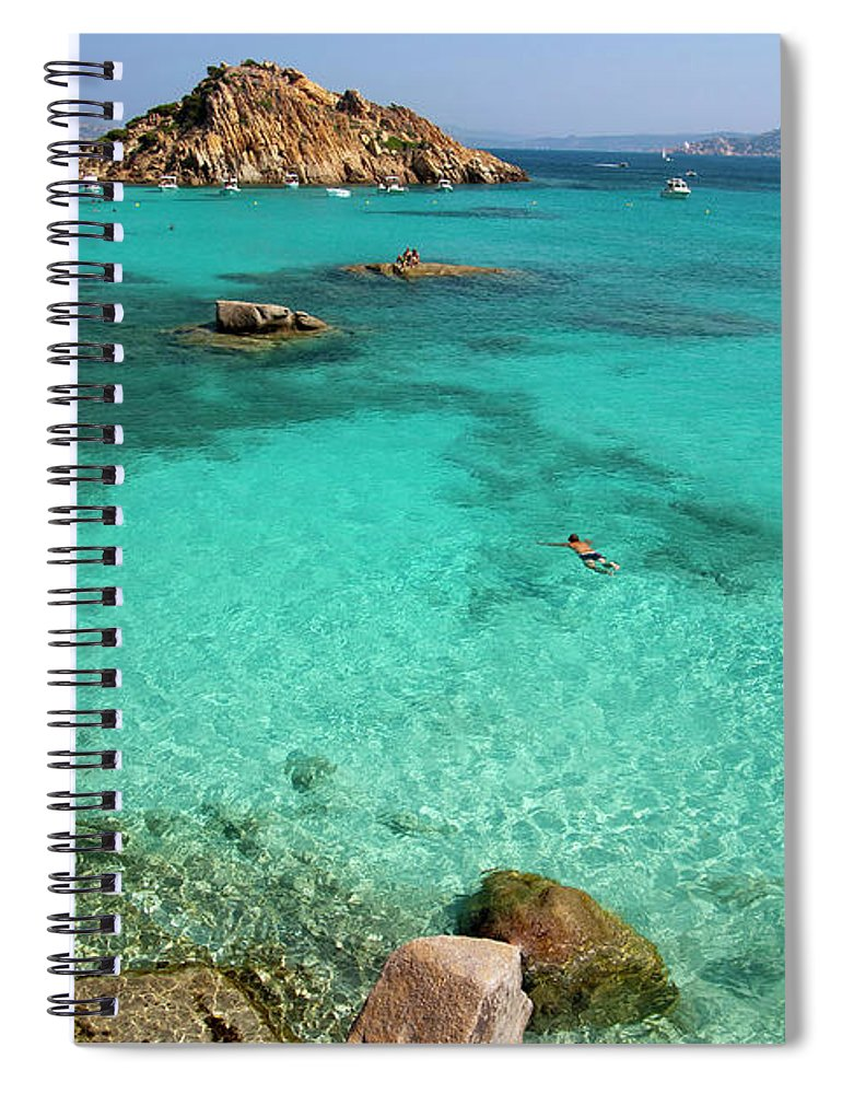 Scenics Spiral Notebook featuring the photograph Turquoise Sea And Boats At La Maddalena by Vito elefante