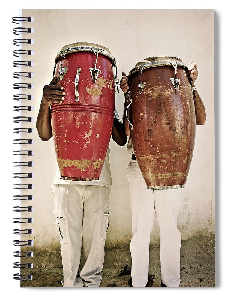 Hiding Spiral Notebook featuring the photograph Two Men Holding Bongos In Front Of by Holly Wilmeth