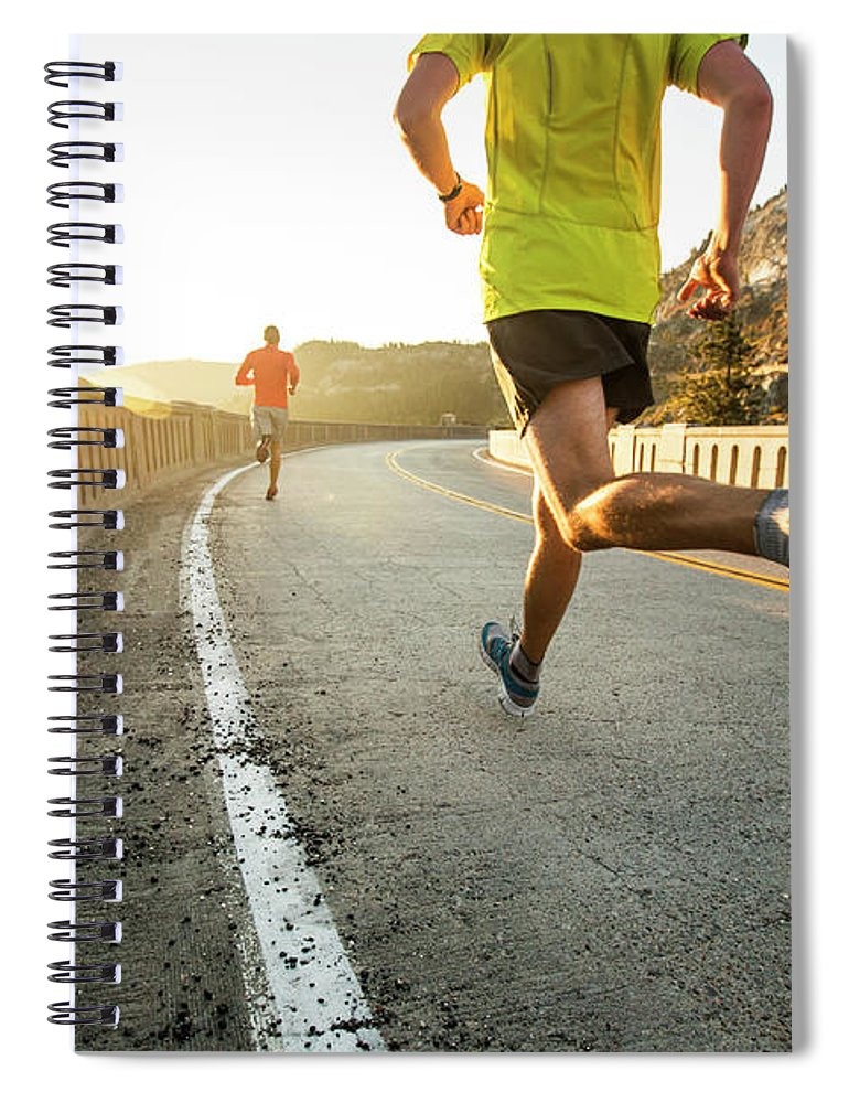 Scenics Spiral Notebook featuring the photograph Two Men On An Early Morning Run by Jordan Siemens
