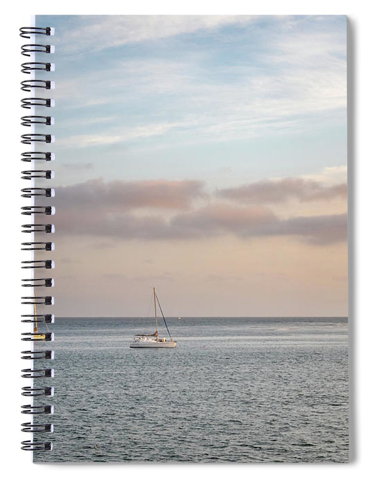 California Spiral Notebook featuring the photograph Two Sail Boats In Ocean Sea Facing The Sunset During The Golden by PorqueNo Studios