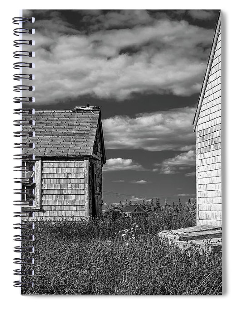 2018 Spiral Notebook featuring the digital art Two Sheds In Blue Rocks #2 by Ken Morris