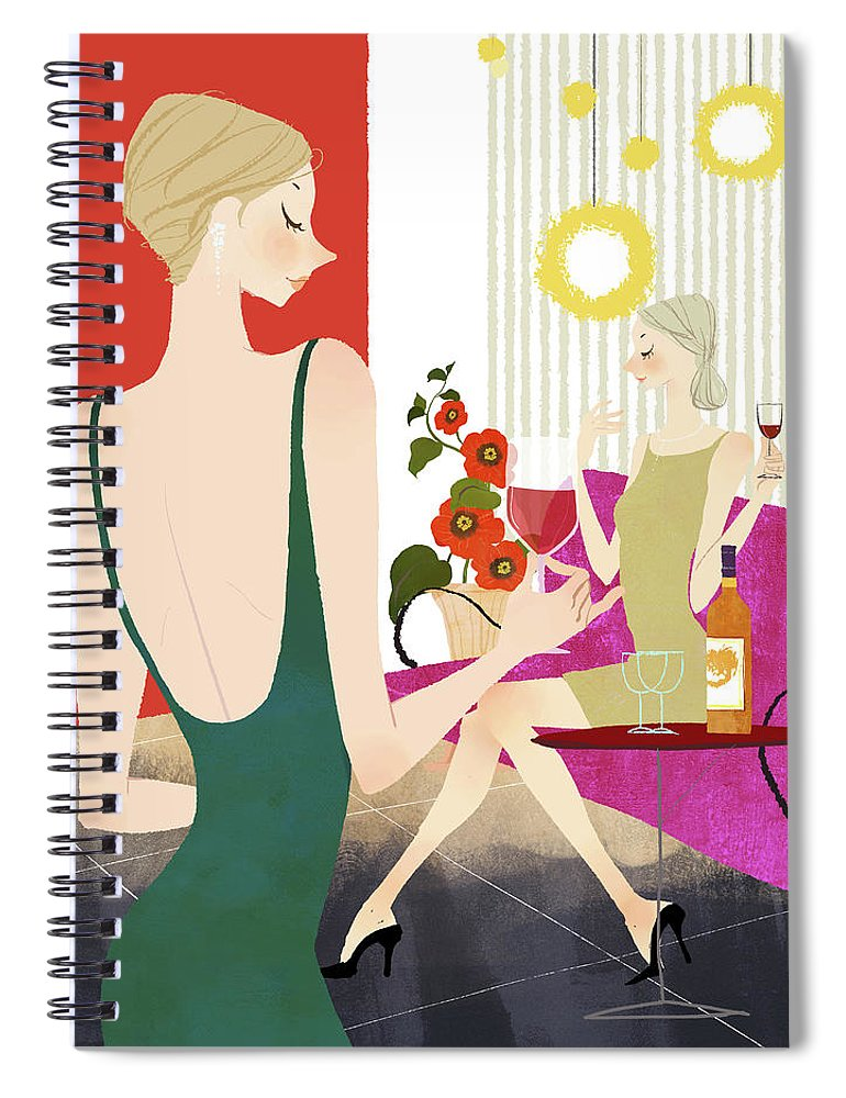 People Spiral Notebook featuring the digital art Two Woman Drinking Wine by Eastnine Inc.