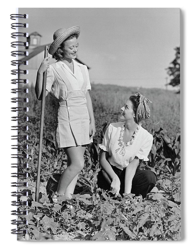People Spiral Notebook featuring the photograph Two Women Gardening In Field by George Marks