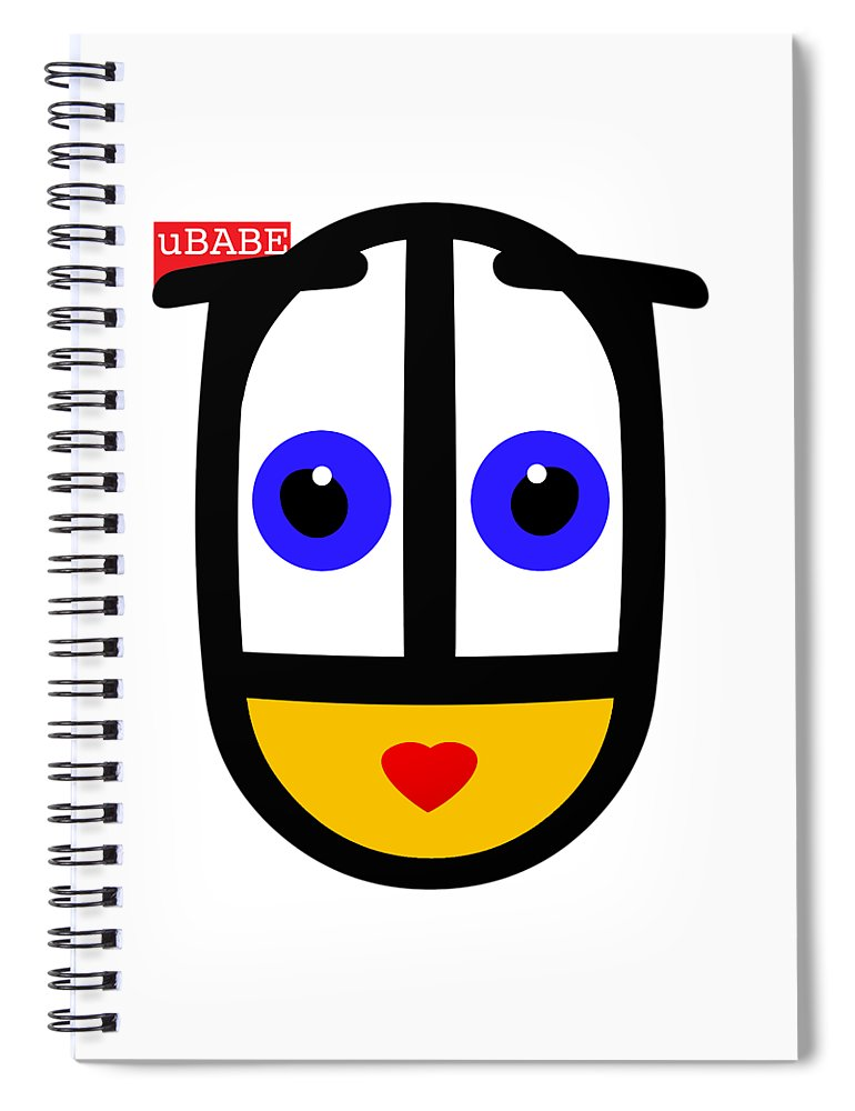 Ubabe Face Spiral Notebook featuring the digital art uBABE Logo by Ubabe Style