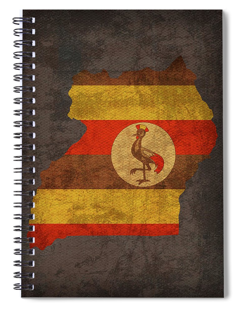 Uganda Spiral Notebook featuring the mixed media Uganda Country Flag Map by Design Turnpike