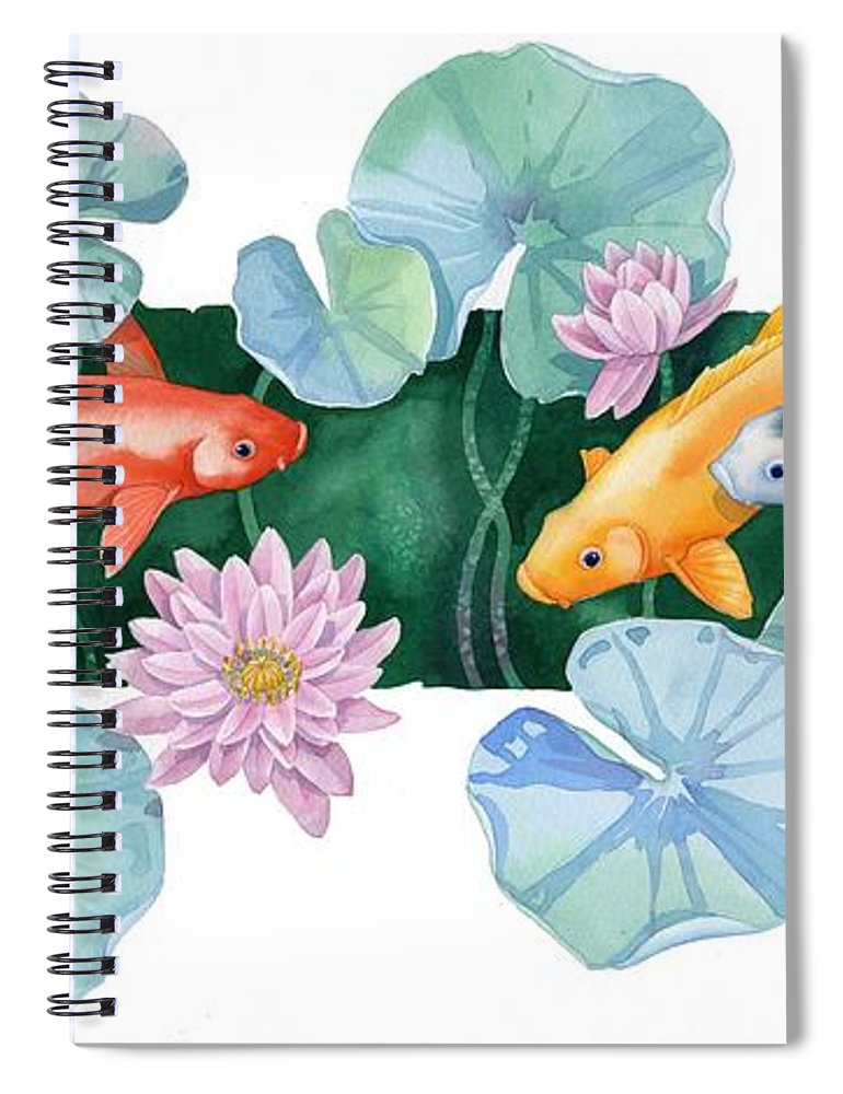 Watercolor Spiral Notebook featuring the painting Under The Lilies II by Paul Brent