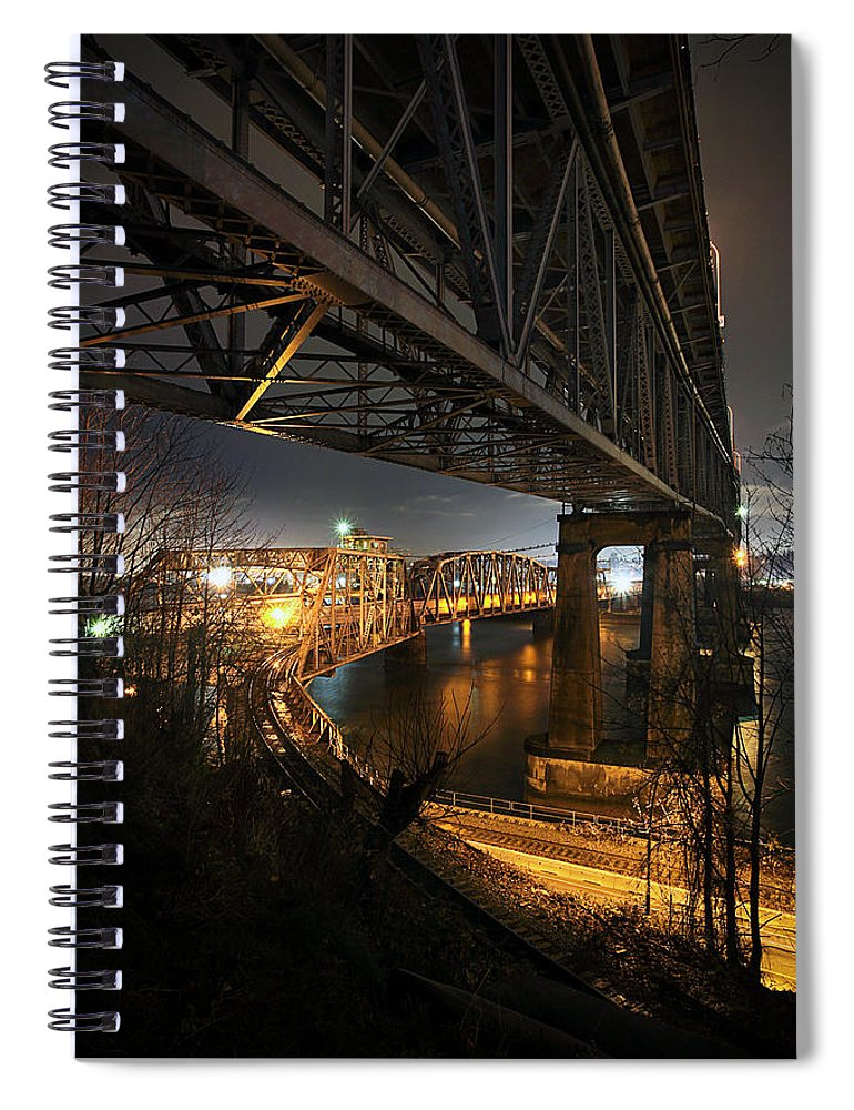 Built Structure Spiral Notebook featuring the photograph Underbelly by Kevin Van Der Leek Photography