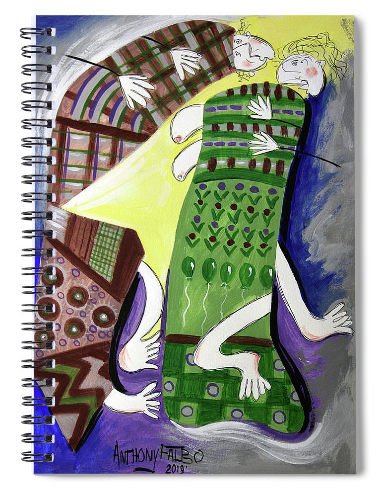 Cubism Spiral Notebook featuring the painting Unexpected Love by Anthony Falbo