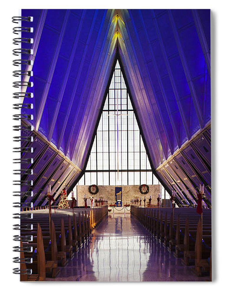 Large Group Of Objects Spiral Notebook featuring the photograph U.s. Air Force Academy, Cadets Chapel by Walter Bibikow