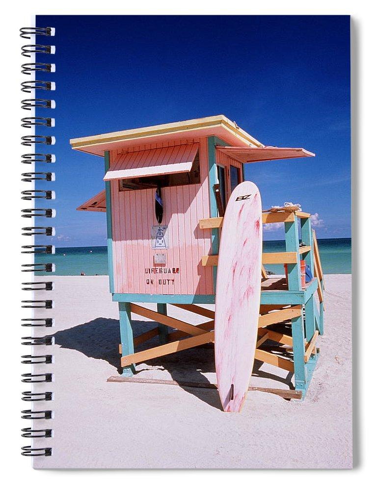 City Spiral Notebook featuring the photograph Usa Florida Miami Beach Lifeguard by Buena Vista Images