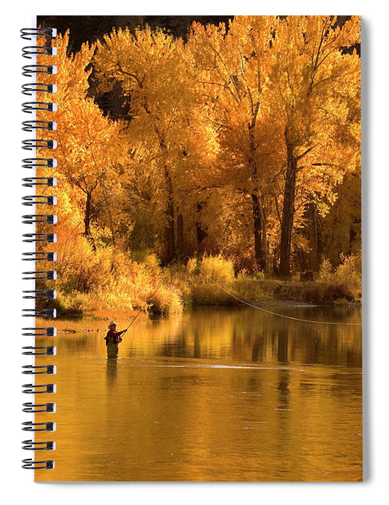 Orange Color Spiral Notebook featuring the photograph Usa, Idaho, Salmon River, Mature Man by Steve Bly