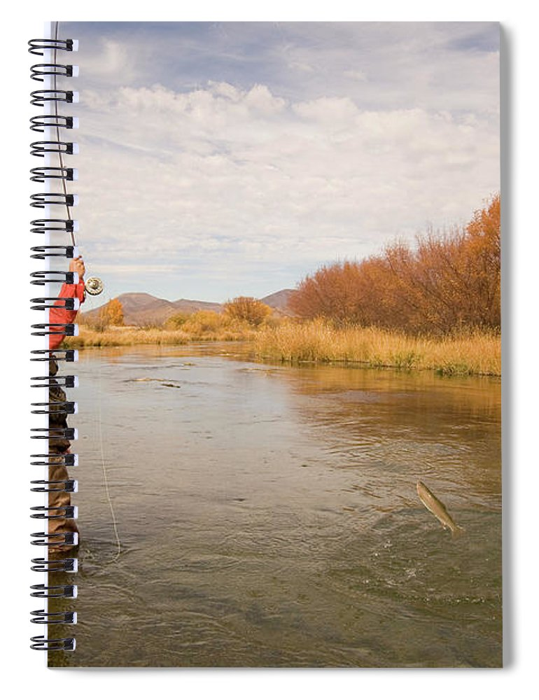 Mature Adult Spiral Notebook featuring the photograph Usa, Idaho, Silver Creek, Mature Man by Steve Bly