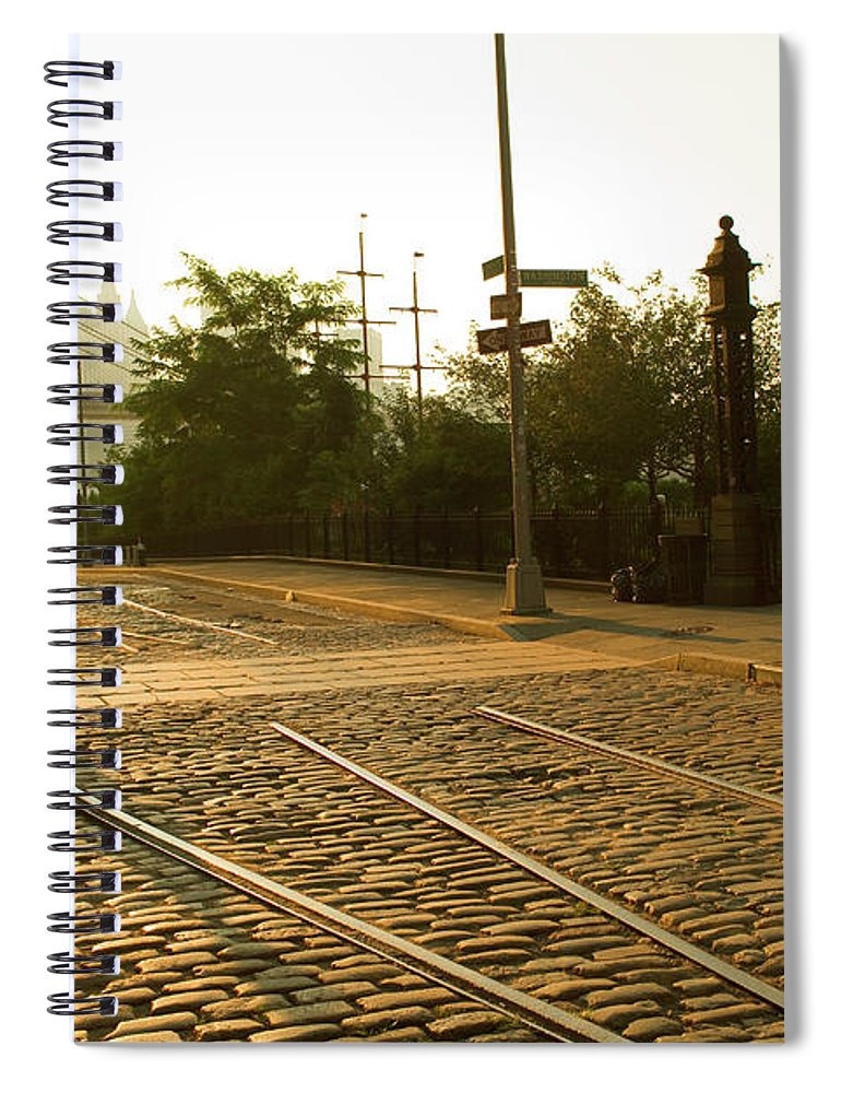 Pedestrian Spiral Notebook featuring the photograph Usa, New York, Brooklyn, Woman Crossing by Maremagnum