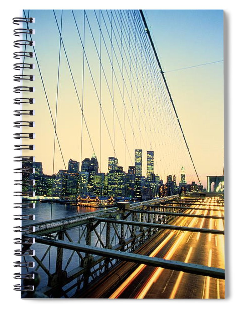 Twin Towers Spiral Notebook featuring the photograph Usa, New York City, Manhattan, View by Paul Radenfeld