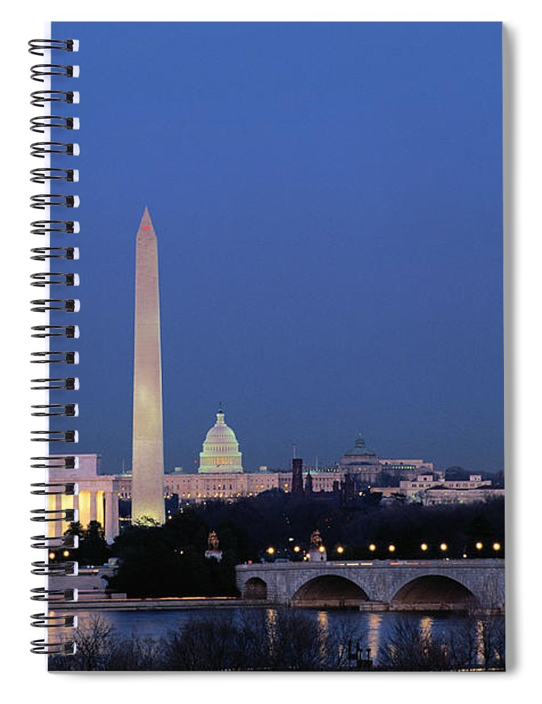 Clear Sky Spiral Notebook featuring the photograph Usa, Washington Dc Skyline, Night With by James P. Blair