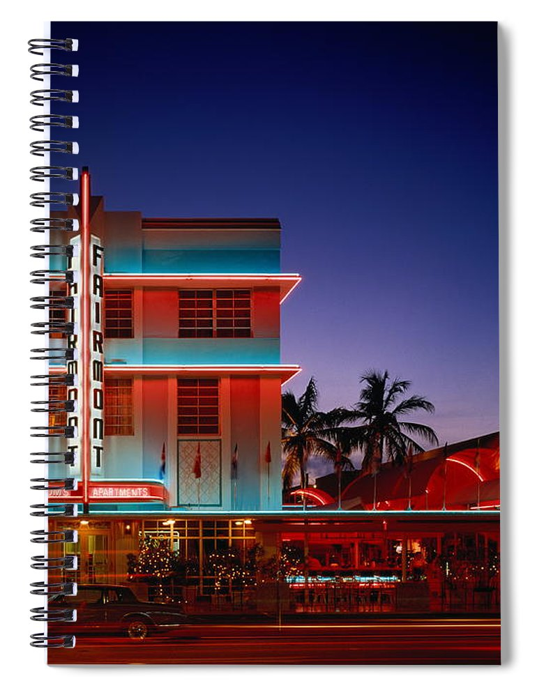 Hotel Spiral Notebook featuring the photograph Usa,florida,miami,art Deco Historic by Siegfried Layda