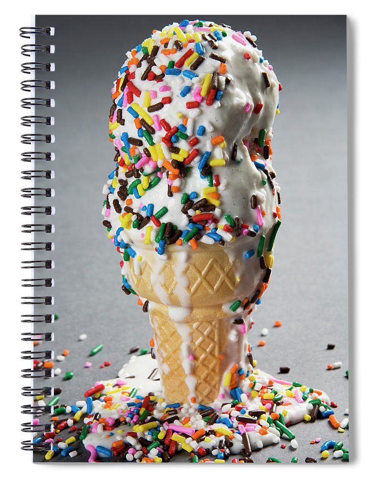 Melting Spiral Notebook featuring the photograph Vanilla Ice Cream Cones With Sprinkles by Henry Horenstein