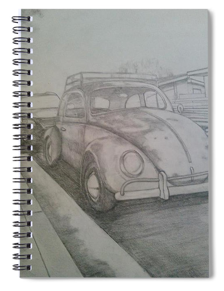 Drawing Of Vw Spiral Notebook featuring the drawing Vdub by Andrew Johnson