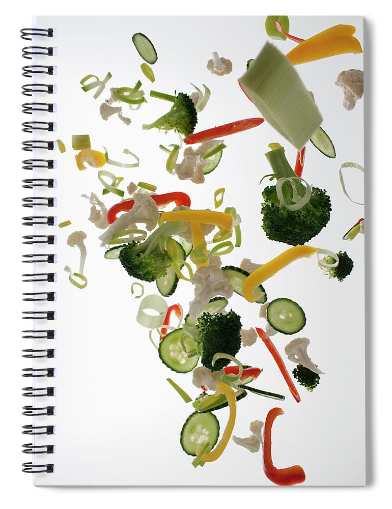 Broccoli Spiral Notebook featuring the photograph Vegetables Against A White Background by Dual Dual