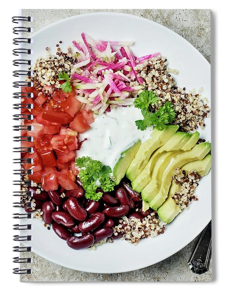 Spoon Spiral Notebook featuring the photograph Vegetarian Dish by Claudia Totir