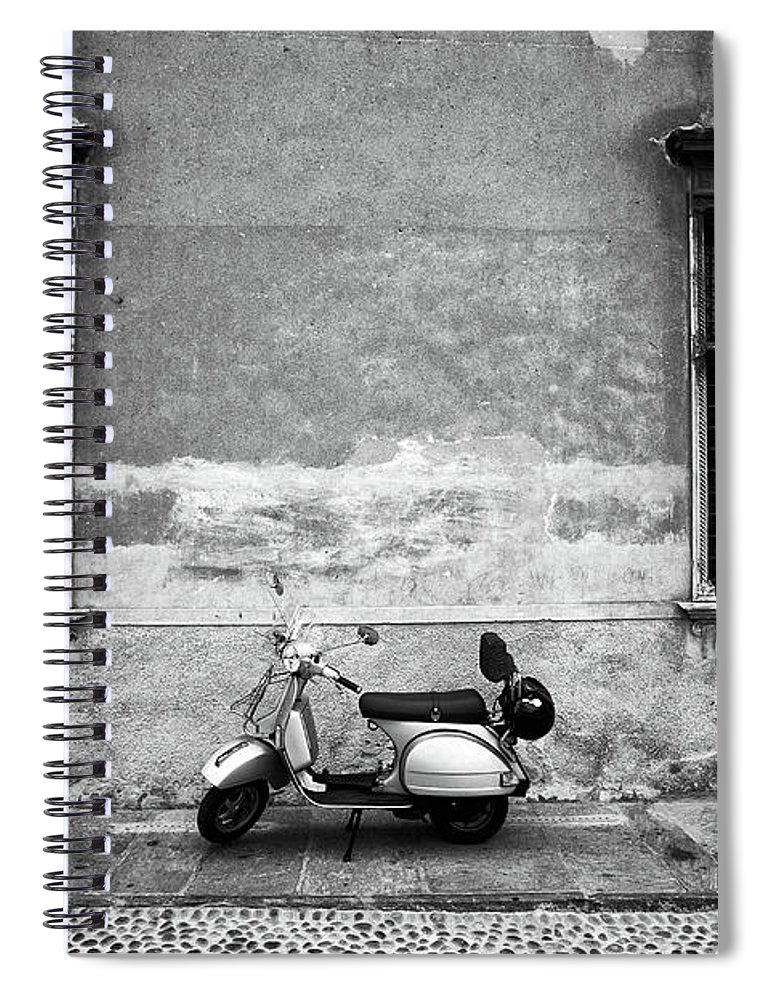 Two Objects Spiral Notebook featuring the photograph Vespa Piaggio. Black And White by Claudio.arnese