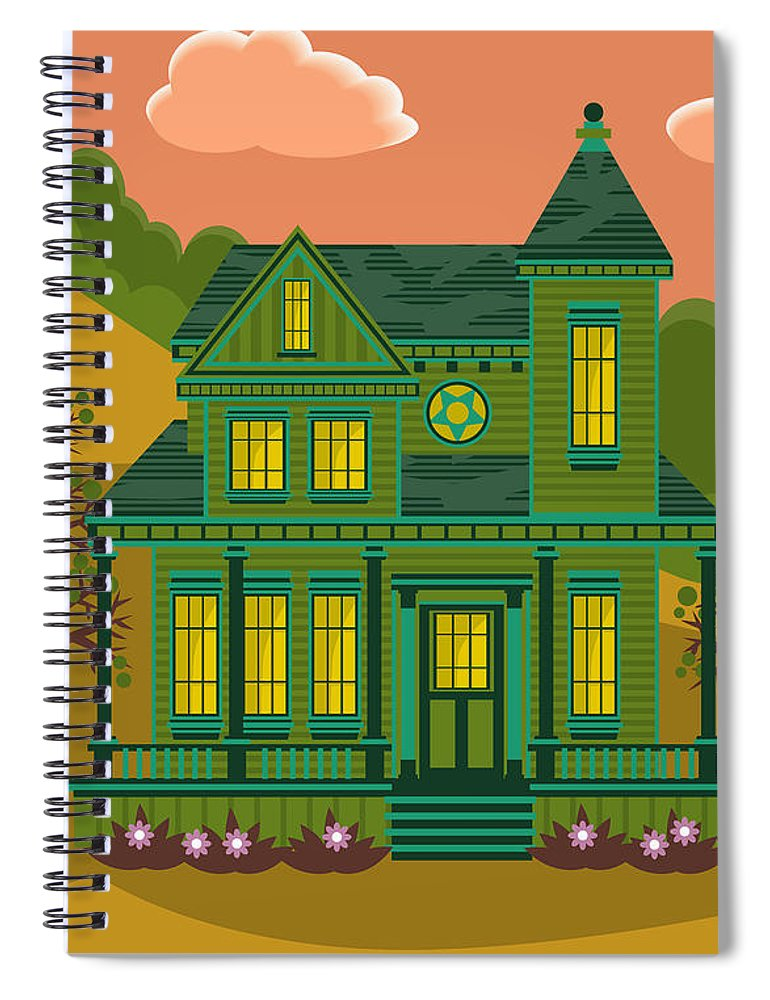 Victorian Style Spiral Notebook featuring the digital art Victorian House by Sam Morrison