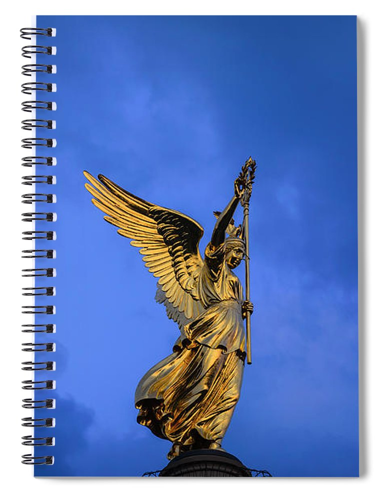 Berlin Spiral Notebook featuring the photograph Victory Column Siegessaeule by Ingo Jezierski