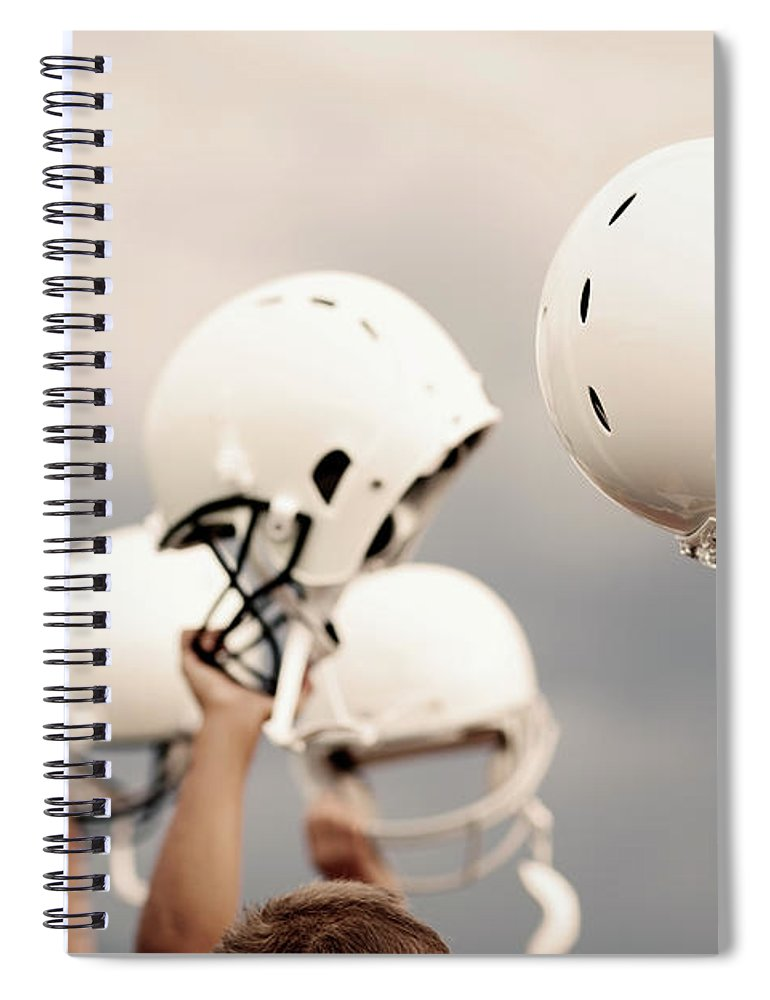 Sports Helmet Spiral Notebook featuring the photograph Victory by Richvintage