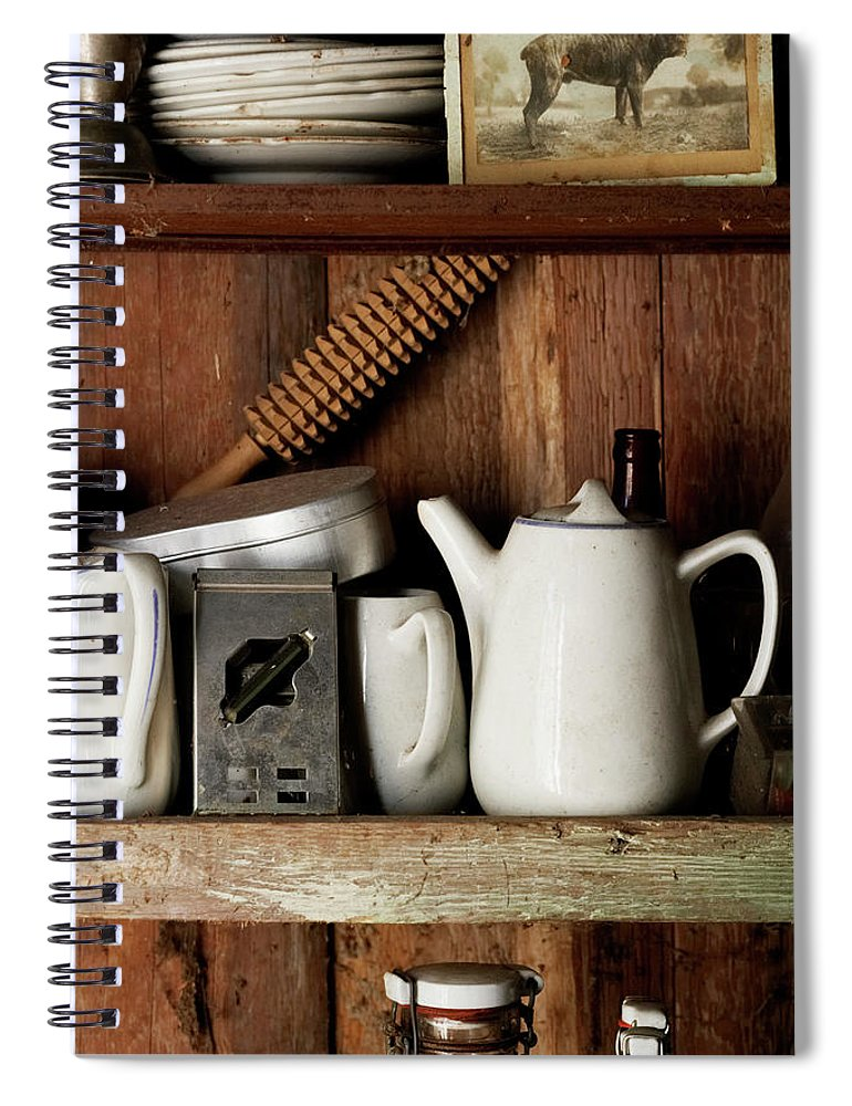Bohuslan Spiral Notebook featuring the photograph View Of Old Crockery In Flea Market by Johner Images