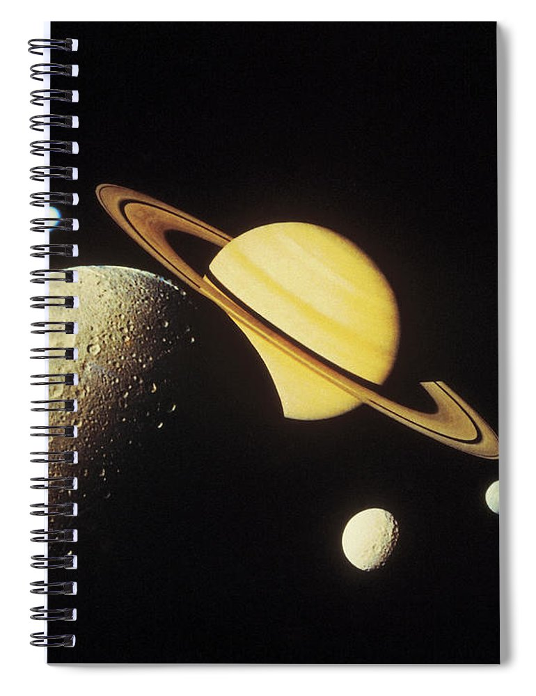 Galaxy Spiral Notebook featuring the photograph View Of Planets In The Solar System by Stockbyte