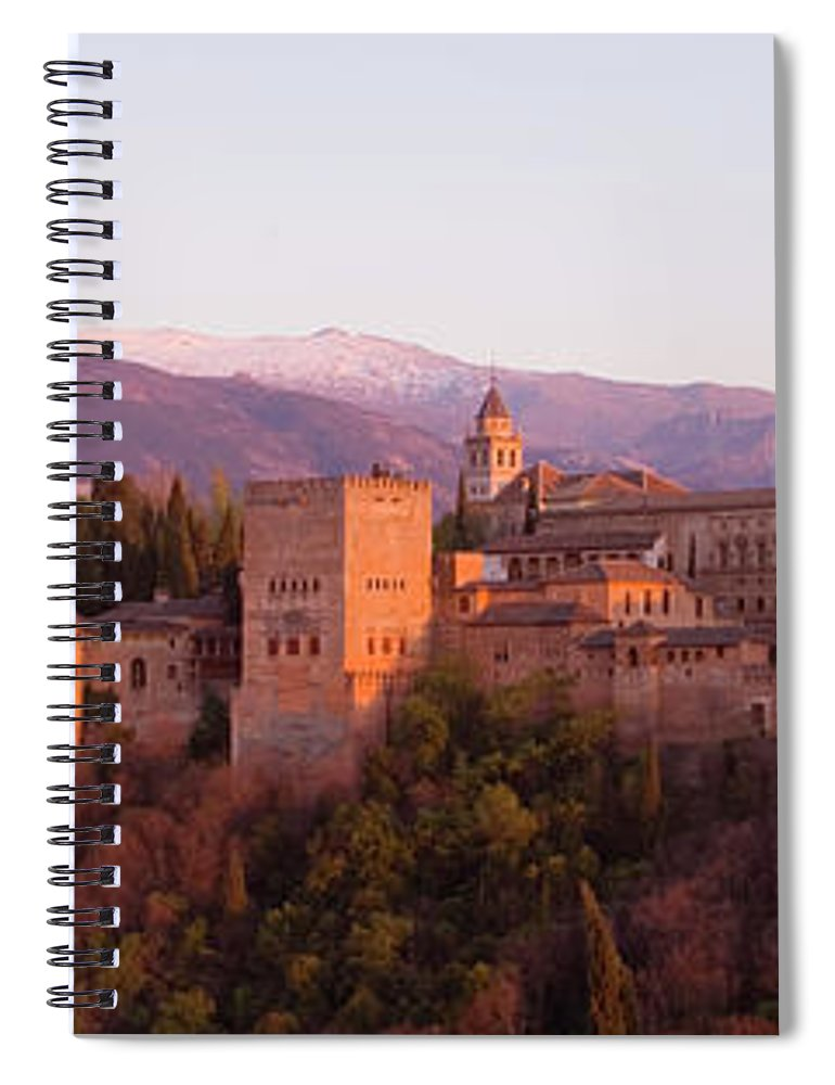 Scenics Spiral Notebook featuring the photograph View To The Alhambra At Sunset by David C Tomlinson