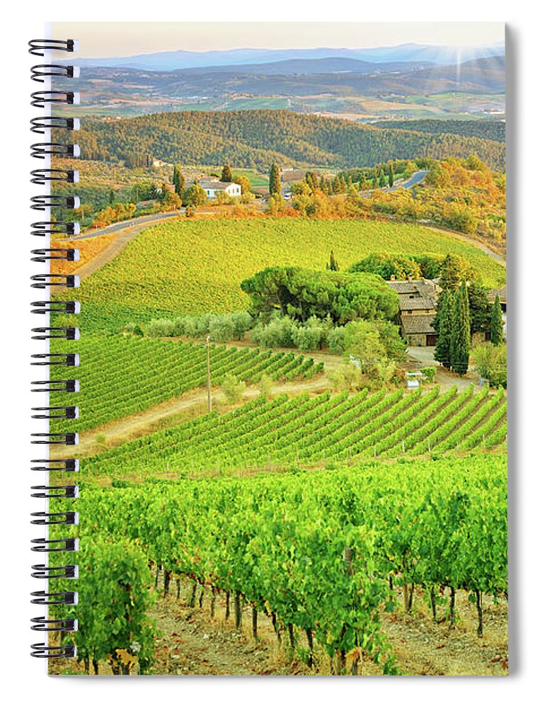Environmental Conservation Spiral Notebook featuring the photograph Vineyard Sunset Landscape From Tuscany by Csondy