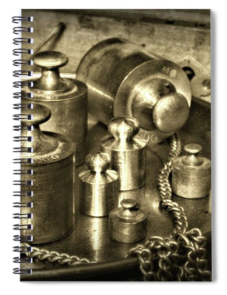 Paul Ward Spiral Notebook featuring the photograph Vintage Brass Weights Sepia by Paul Ward