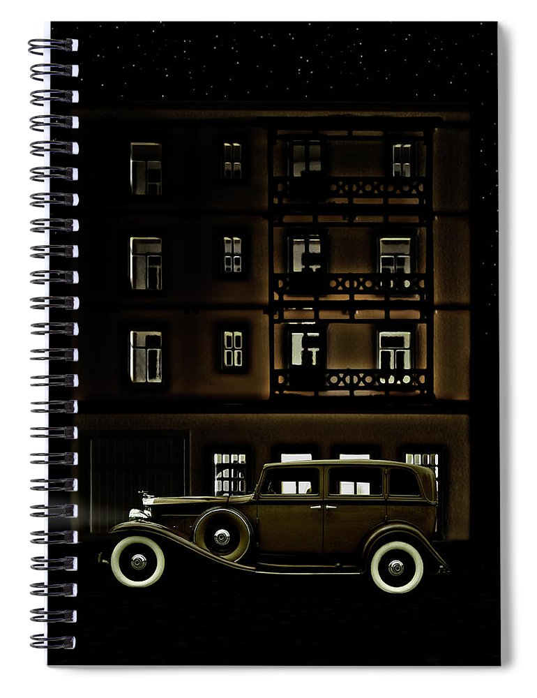 Apartment Spiral Notebook featuring the photograph Vintage Car Outside Apartment Block At by Michael Duva