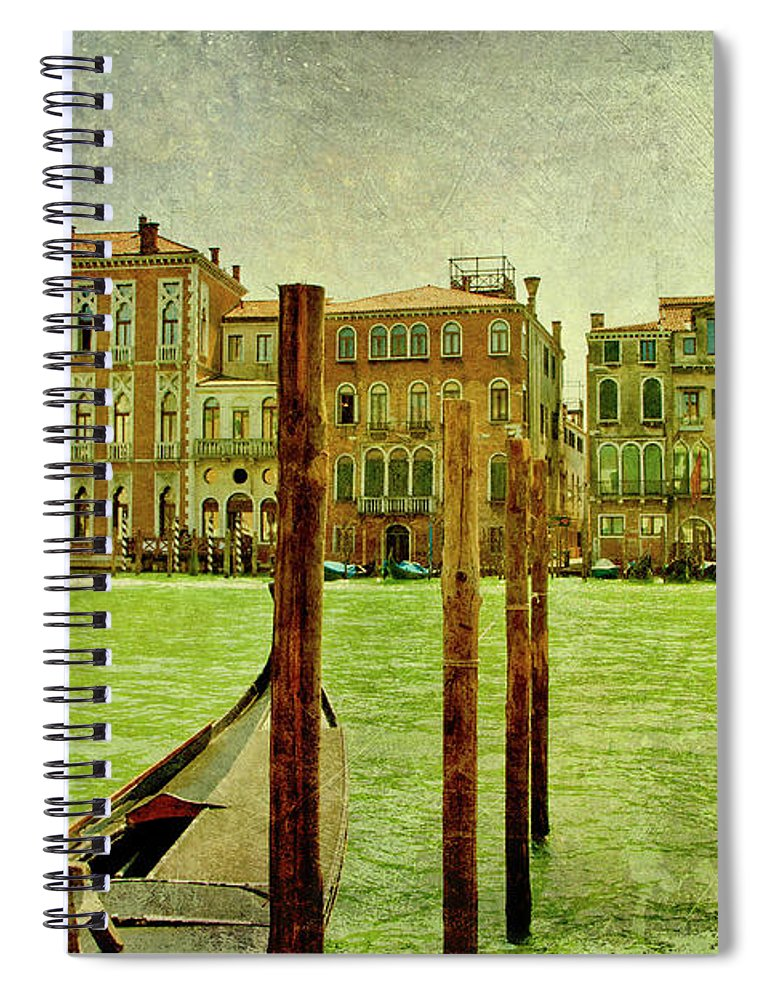 Grunge Spiral Notebook featuring the digital art Vintage Grand Canal Panorama by Luisa Vallon Fumi