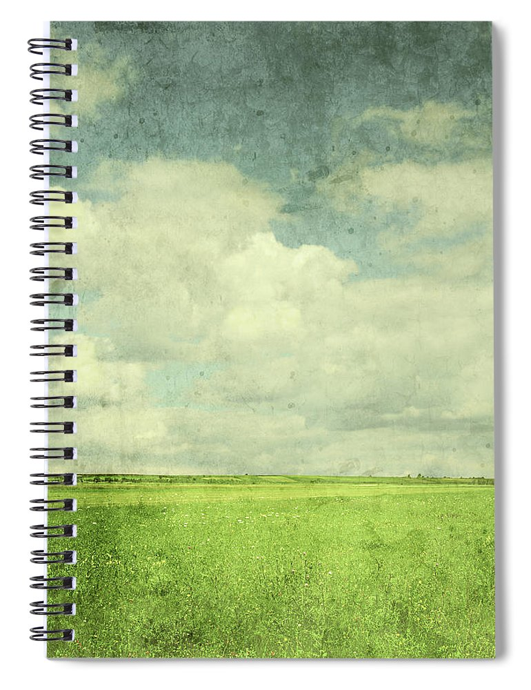 Scenics Spiral Notebook featuring the photograph Vintage Image Of Green Field And Blue by Jasmina007