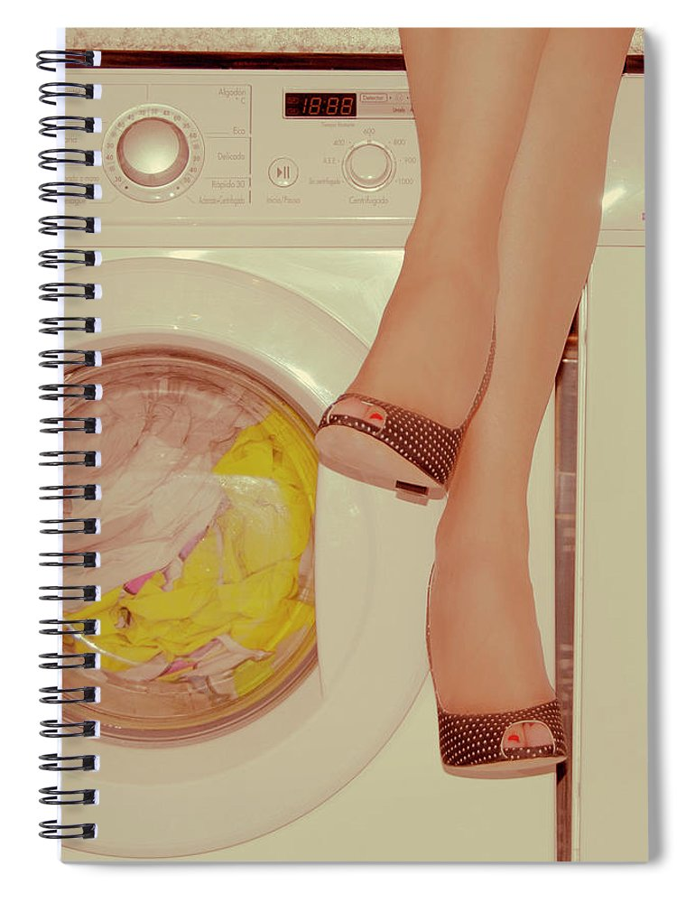 Laundromat Spiral Notebook featuring the photograph Vintage Laundry by © Angie Ravelo Photography