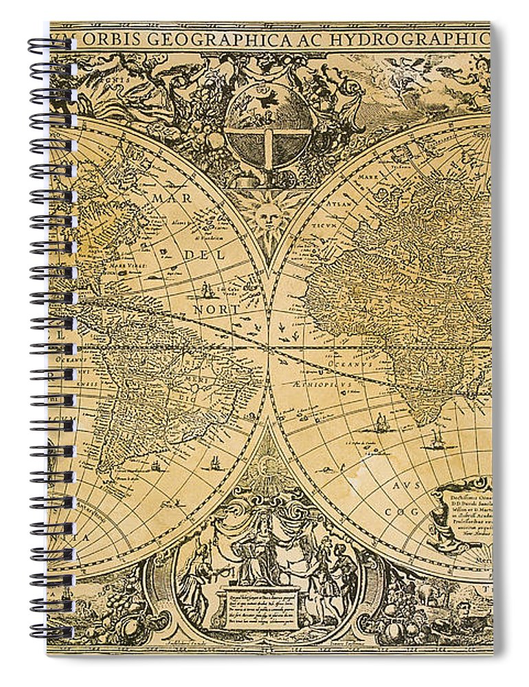 Latitude Spiral Notebook featuring the digital art Vintage Map Of The World by Comstock