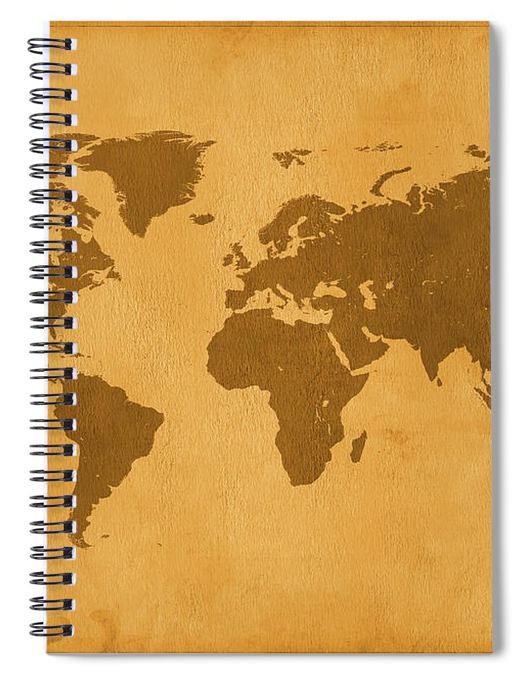 Material Spiral Notebook featuring the photograph Vintage Map Of The World In Brown by Yorkfoto