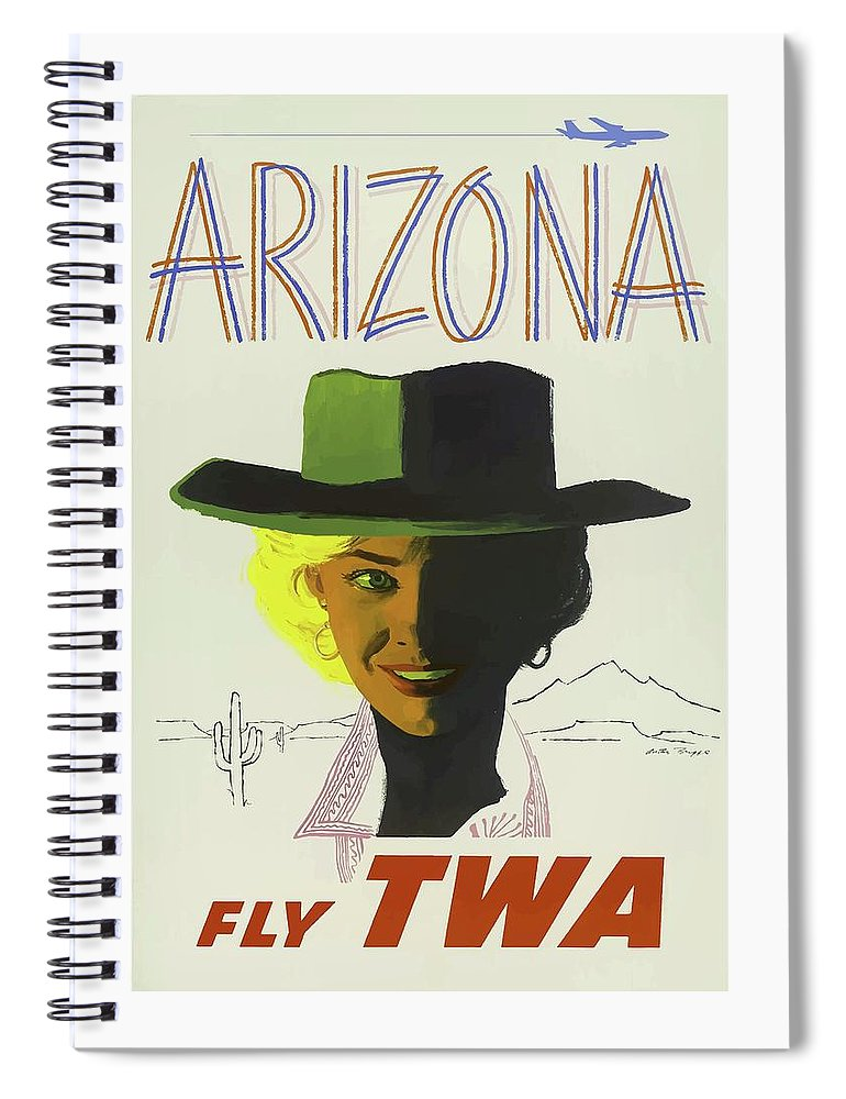 Vintage Spiral Notebook featuring the mixed media Vintage Travel Poster Arizona 3 by Movie Poster Prints