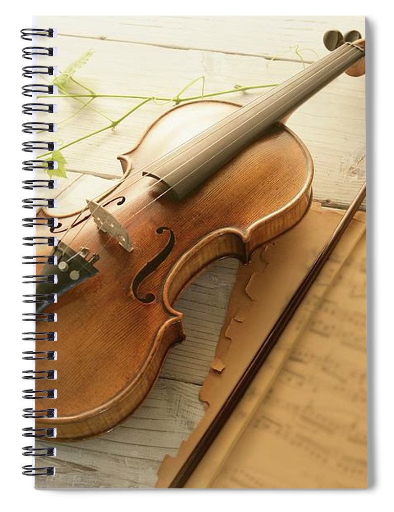 Sheet Music Spiral Notebook featuring the photograph Violin And Music Sheet by Image Work/amanaimagesrf