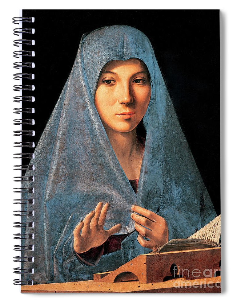 Madonna Spiral Notebook featuring the painting Virgin Of Annunciation Painting By Antonello Di Antonio Dit Antonello Da Messina by Antonello da Messina