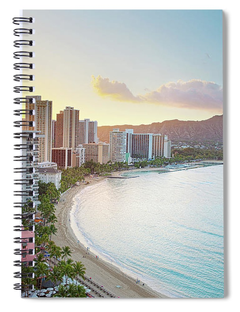 Scenics Spiral Notebook featuring the photograph Waikiki Beach At Sunrise by M Swiet Productions