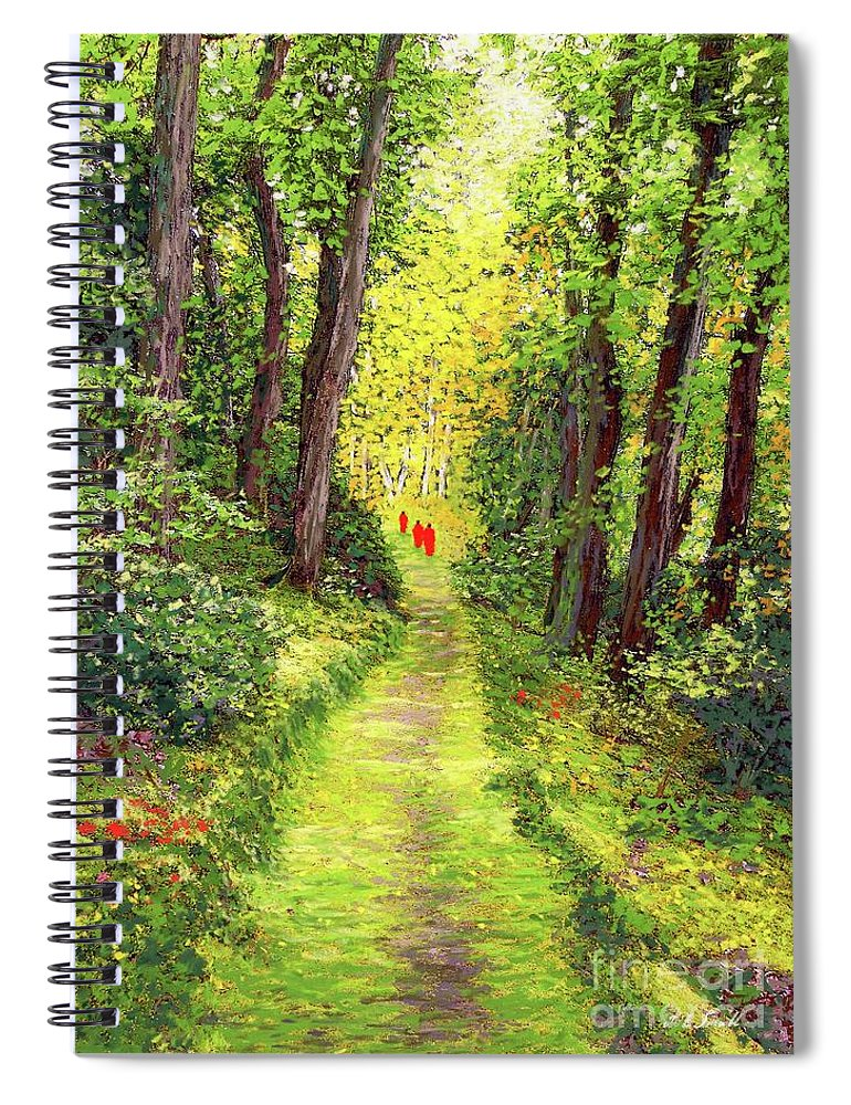 Meditation Spiral Notebook featuring the painting Walking Meditation by Jane Small