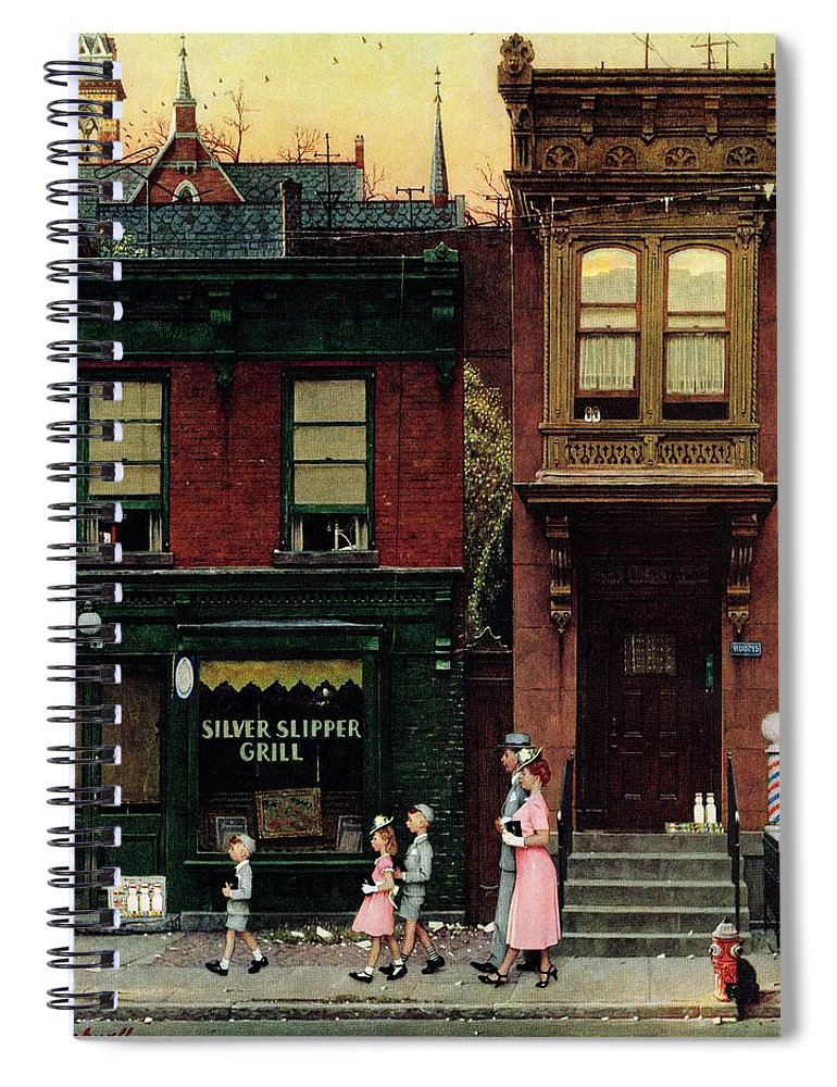 Churches Spiral Notebook featuring the drawing Walking To Church by Norman Rockwell